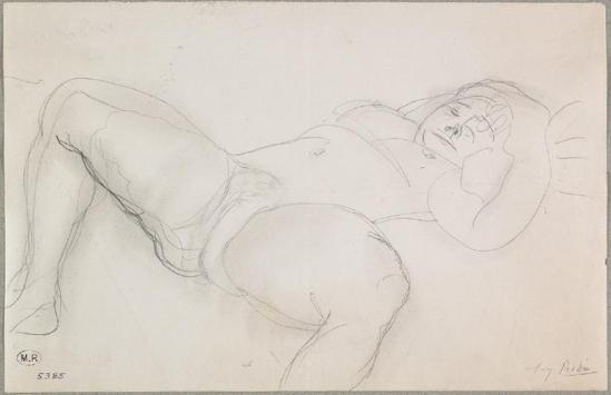 © Auguste Rodin jambes (1840-1917) -Messaline inclinables femme étalée graphite estompé, 1900-1916