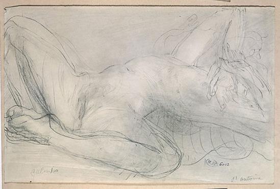 © Auguste Rodin (1840-1917) - en 1900 -à crayon Salambô et estompe sur papier