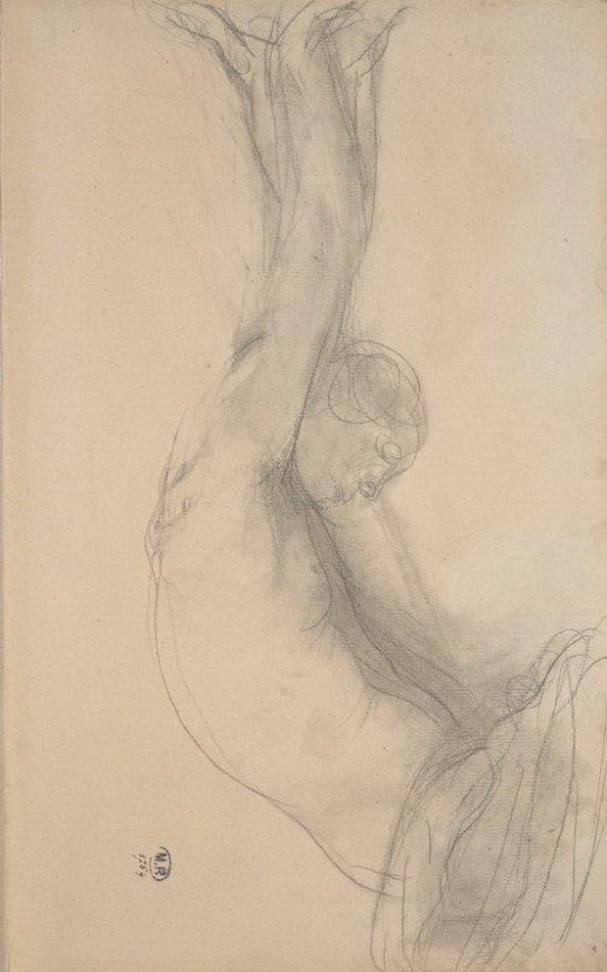 © Auguste Rodin (1840-1917) - Torse de femme nue regardant vers la droite, les bras levés au-dessus de la tête, 1888 crayon et moignon