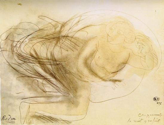 © Auguste Rodin (1840-Crepuscule nuit fui vers 1908 crayon et moignon