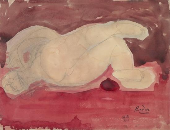 © Auguste Rodin (femme nue couchée 1840 vue arrière et perspectivevers 1900 crayon et aquarelle sur papier