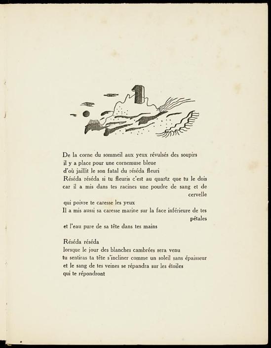 Dormir, dormir dans les pierres,  poème 1927 by Benjamin Péret, illustrations by Yves Tanguy