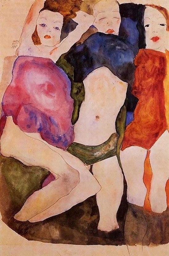 Egon Schiele-Drei Mädchen (Three Girls), 1911