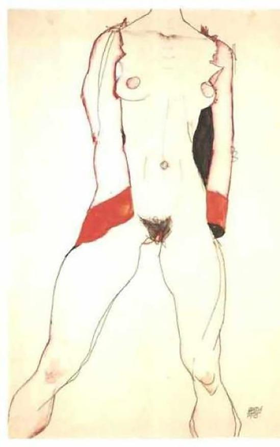 Egon Schiele- Female torso [Weiblicher Torso]-1913