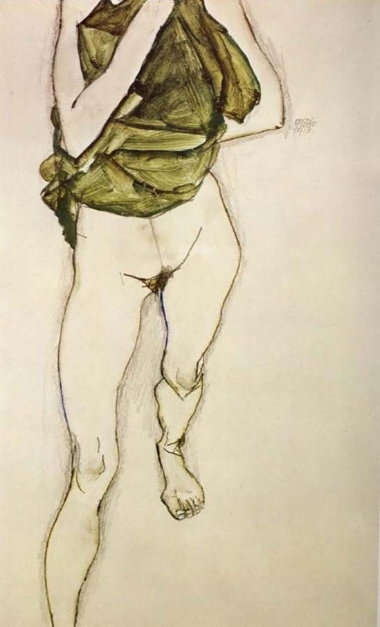 Egon Schiele- Frau in der grünen Bluse (Woman in the green blouse), 1913