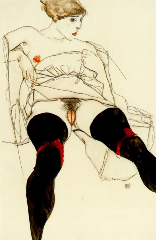 Egon Schiele-Frau in schwarzen Strümpfen (Femme Aux Bas Noirs) ,