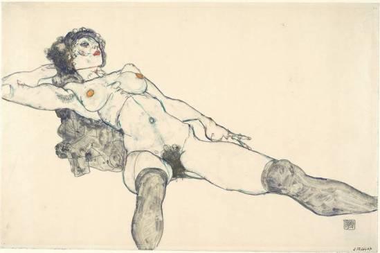Egon Schiele -Frauen liegen nackt Beine öffnen (  Frauen liegen nackt Beine öffnen 1914.)1914.