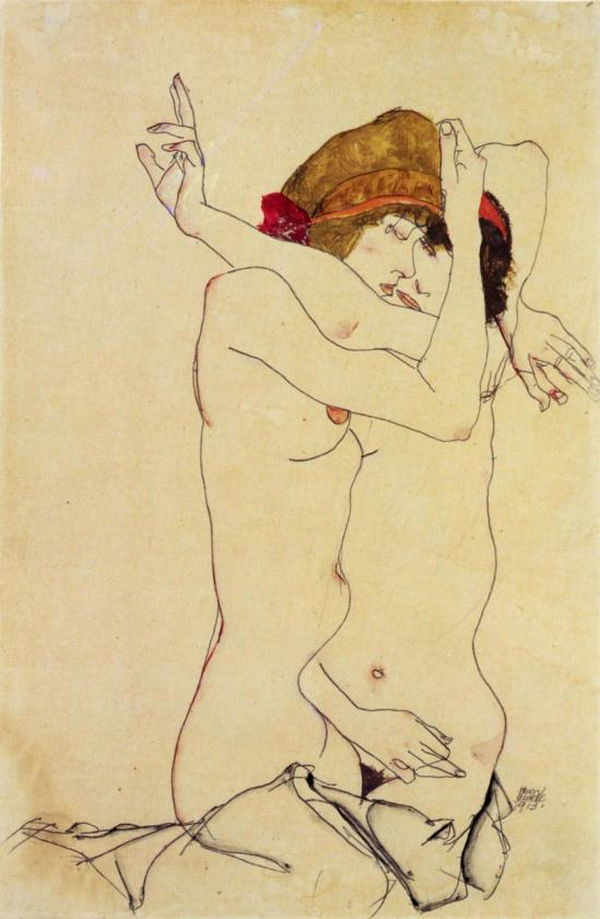 Egon Schiele -Frauen umarmen (women embracing) , 1913