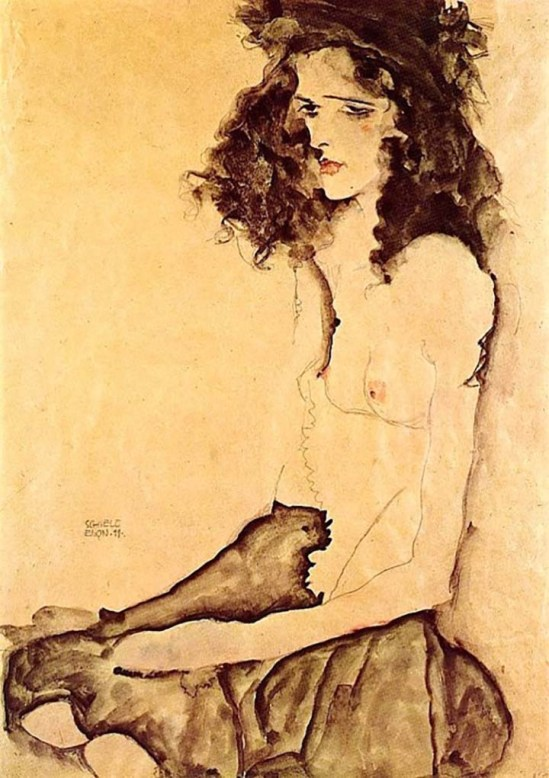 Egon Schiele, Girl in Black, 1911