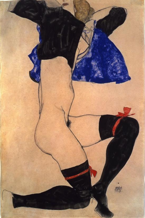 Egon Schiele -Halb nackt in schwarzen Strümpfen und Red Garter  Semi-nude in Black Stockings and Red Garter 1913,