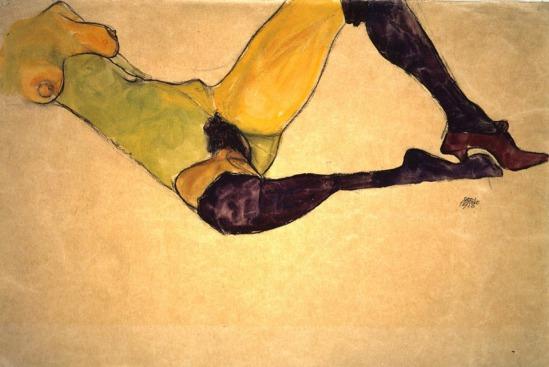 Egon Schiele- Liegende Frau in lila Strümpfe [Femme allongée aux bas violets] , 1910
