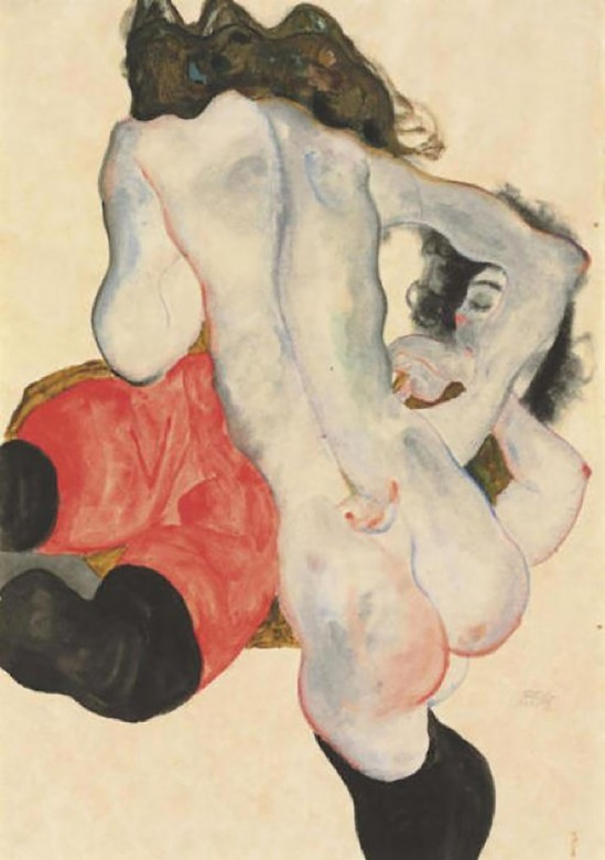 Egon Schiele-Liegende Frau mit roter Hose und stand weibliche Akt[ Lying woman with red pants and standing feminine act], 1912