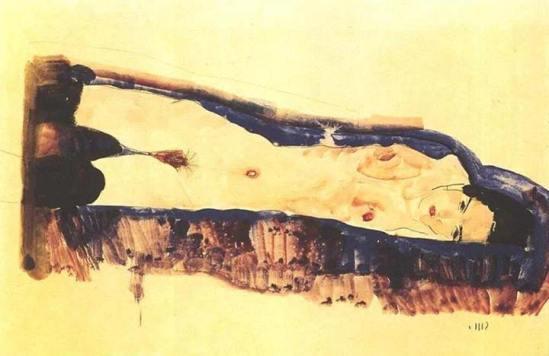 Egon Schiele- Liegender Frauenakt mit schwarzen Strümpfen (Reclining female nude with black stockings ) 1911