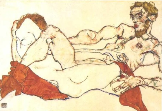 Egon Schiele- Lying female and male nudes, 1913