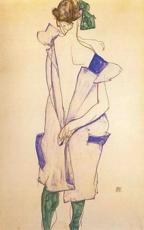 Egon Schiele  - Mädchen in einem blauen Kleid und grüne Strümpfe Rückansicht                (Fille debout en robe bleue et en chaussettes vertes, vue de dos) ,  1913