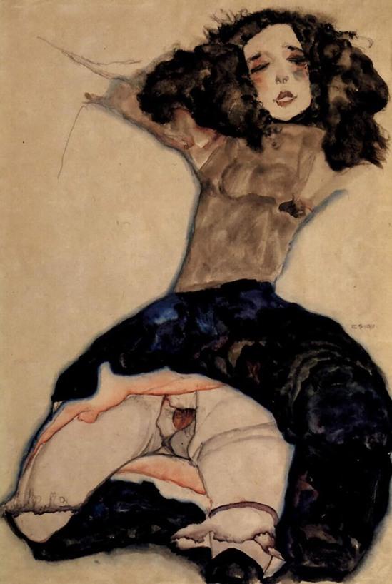 Egon Schiele - Mädchen mit schwarzen Haaren [Girl with black hair], 1911