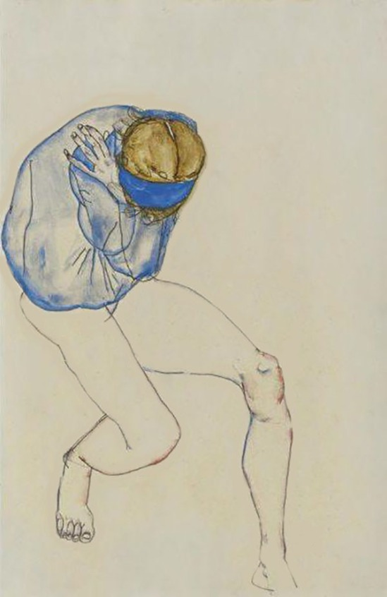 Egon Schiele, Mädchenhalbakt Blondine mit blauem Hemd und blauer Haarband (blonde avec chemise bleue et la bande de cheveux bleu) 1913