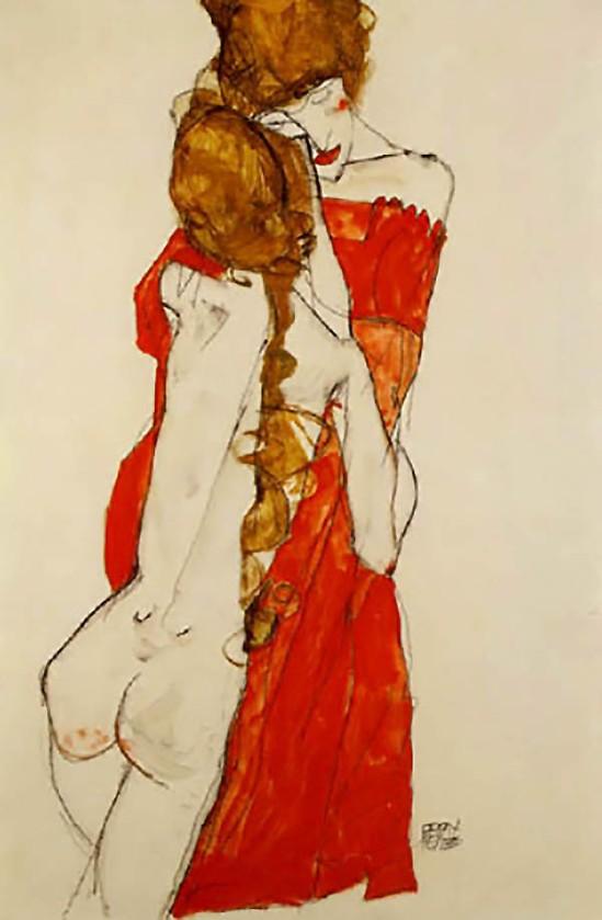 Egon Schiele - Mutter und Mädchen, Mother and girl,1913