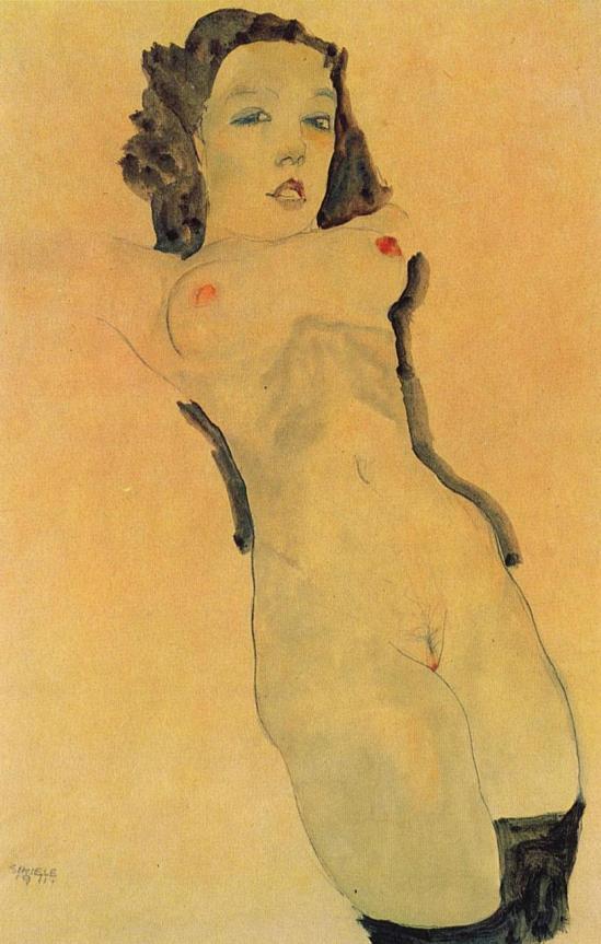 Egon Schiele- Nackt, kniend mit schwarzem Strumpf [Nude, Kneeling with Black Stocking ] ,1911