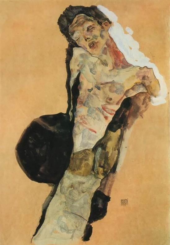 Egon Schiele- Selbstporträt  (Self-Portrait) , 1911.