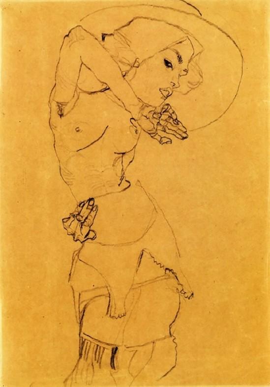 Egon Schiele - Stehender Akt mit Hut Große (Standing Nude with Large Hat), model  Gertrude Schiele, 1910