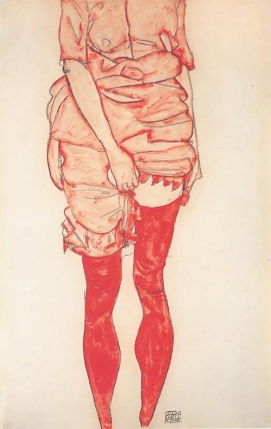 Egon Schiele-Stehende Frau in Rot (Standing Woman in Red) , 1913