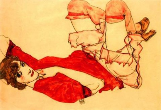 Egon Schiele-Wally in roter Bluse (Wally In Red Blouse ) , 1913