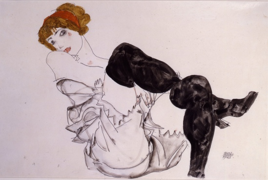 Egon Schiele- Wally Neuzil in schwarzen Strümpfen(  in Black Stockings) 1912
