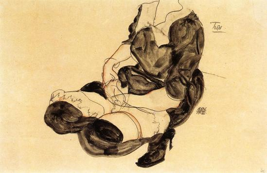 Egon Schiele -  Weiblicher Torso, Hocken (Female Torso, Squatting)  1912