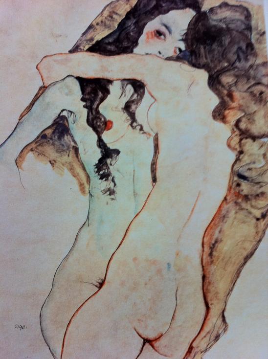 Egon Schiele.  Zwei Frauen verflochten Two women entwined 1911