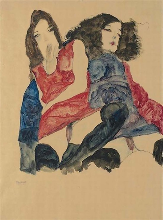 Egon Schiele -Zwei Töchter [Deux filles], 1911