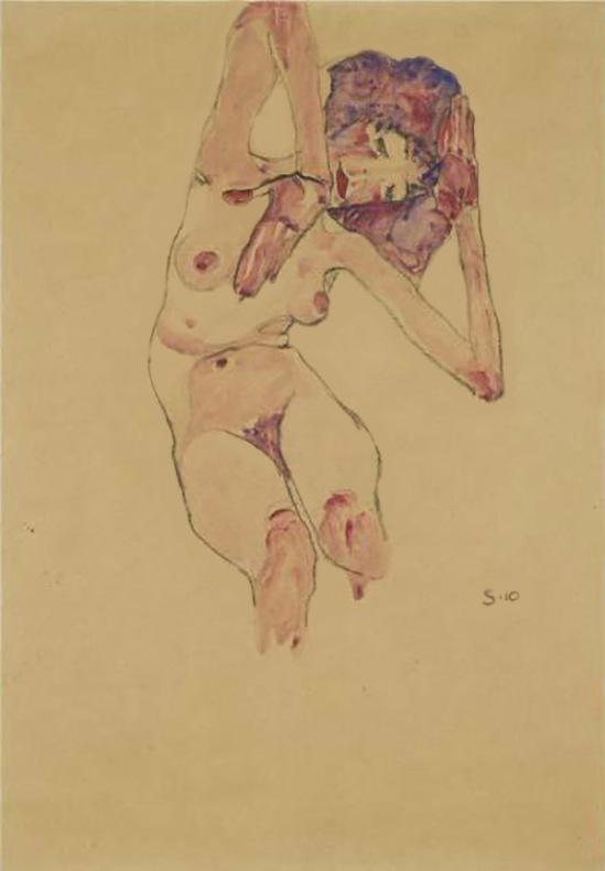 Egon Schiele,Sitzender Akt mit erhobenen Armen und Kopf geneigt ( Nu assis avec les bras levés et la tête inclinée ), 1910