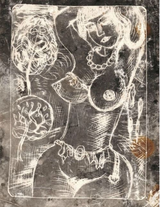 Miroslav Tichý-Photogram, depicting author´s drawings with woman nude (source Zelouna Auction House)
