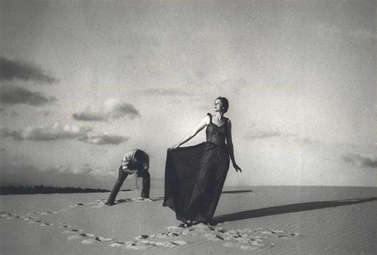 Olive Cotton- Fashion Shot, Cronulla Sandhills c1937 (Shows Max Dupain photographing model Noreen Hallard.)