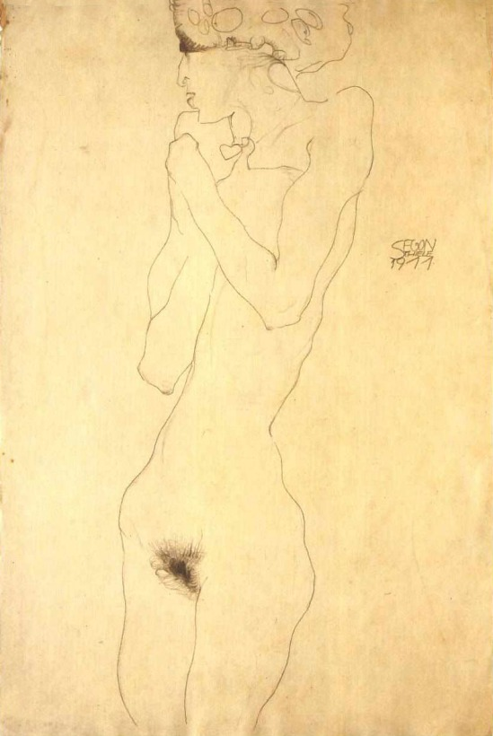 Egon Schiele-Standing Female Nude with Crossed over his chest (Stehender weiblicher Akt mit über der Brust verschränk), 1911