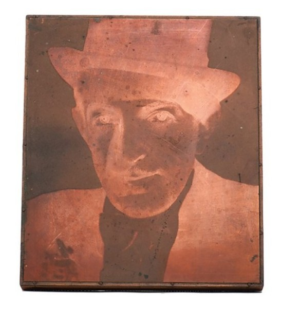 Maurice Seymour- Bust portrait of Cardini printing plate. Engraved copper, mounted to wood. , 1936