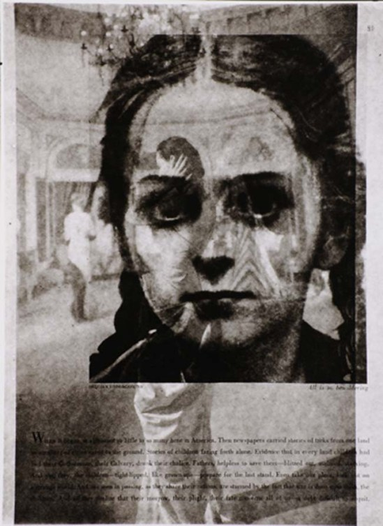 Edmund Teske Belgian Underground (Two sides of 1940s magazine page of girl's face), 1960s