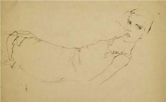 Egon Schiele, Mädchen auf dem Rücken liegend ( fille couché sur le dos ) 1911