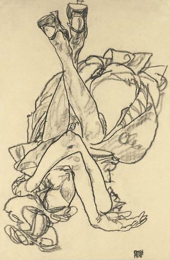 Egon Schiele, Fille couchée sur le dos, les bras et les jambes croisées 1918