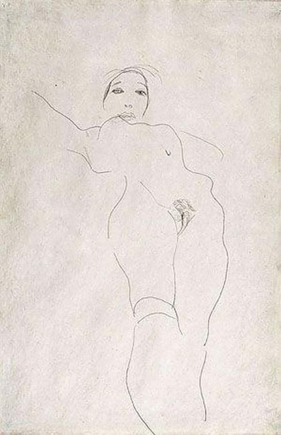 Egon Schiele- nackte Mädchen mit Socken( fille nue avec des chaussette), 1912