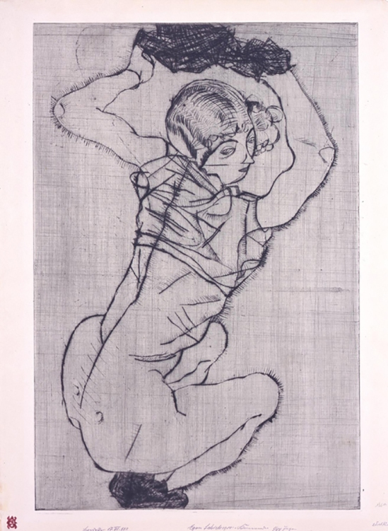 "Egon Schiele - Kauernde (Squatting Woman); from the portfolio ""Das graphische Werk von Egon Schiele (The Graphic Work of Egon Schiele)"""
