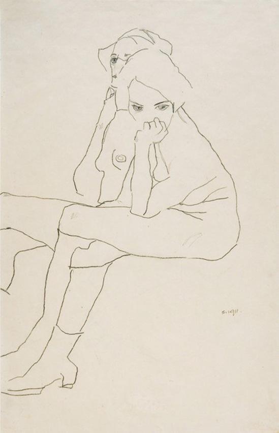Egon Schiele -Zwei Akte mit Stiefeln (Two nudes with boots) 1911