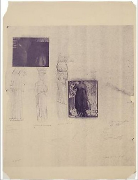 Francesca Woodman- Projet a blue print for a temple ,Portico withcaryatids of Delphi, 1980