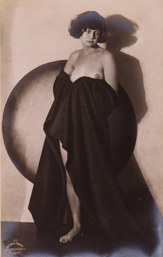 frantisek-drtikol-1883-1961-draped-nude-with-circle-1928-vintage-silver-print-bromografia-on-rose-toned-paper