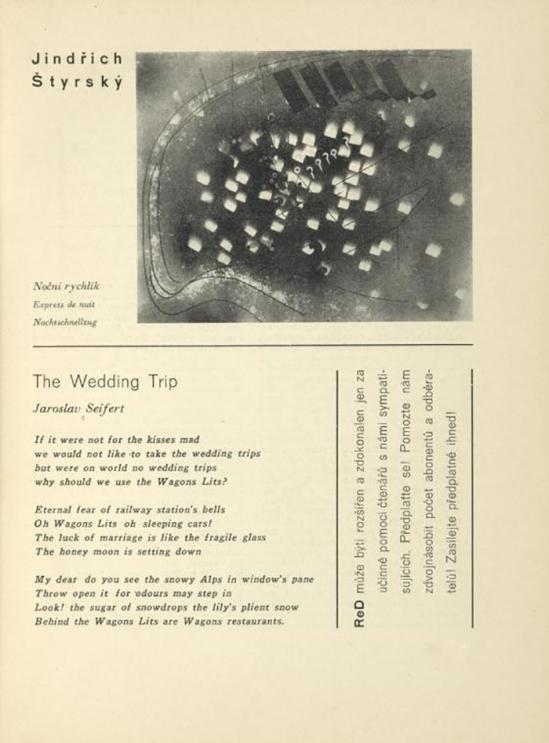 Jindřich Štyrský ( Noční rychlík Express de nuit, The wedding Trip, & Jaroslav Seifert. published In ReD( Dirrected ans published by Karel Teige), issue # 2, 1928-29