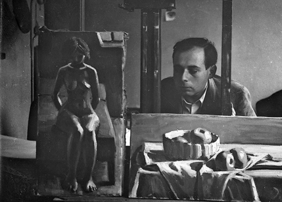 John Gutmann - Self -portrait , with his paintings Nude and Still Life with Apples , 1932