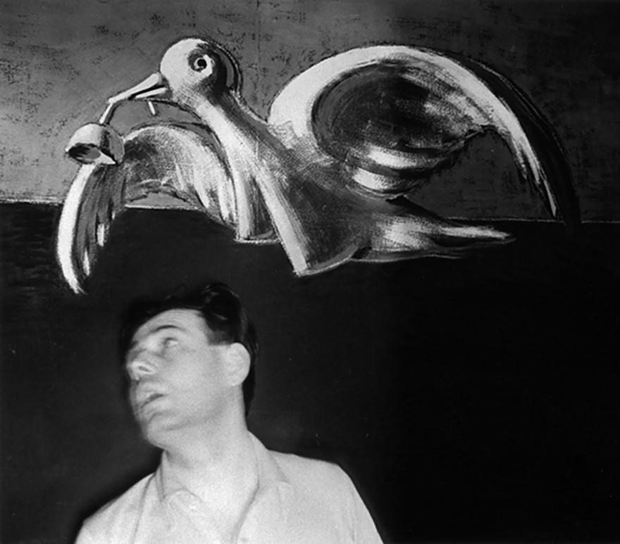 John Gutmann-Self portrait with LoveBird, 1934