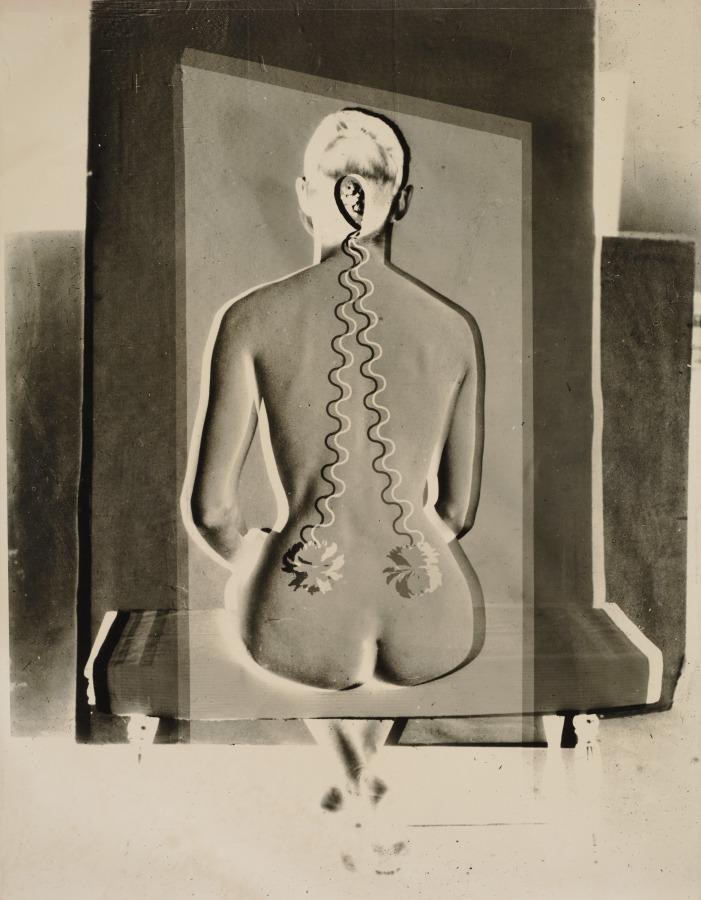 Josef Breitenbach- Electric Back, New York, 1949  toned gelatin silver print , montage © The Josef Breitenbach Trust