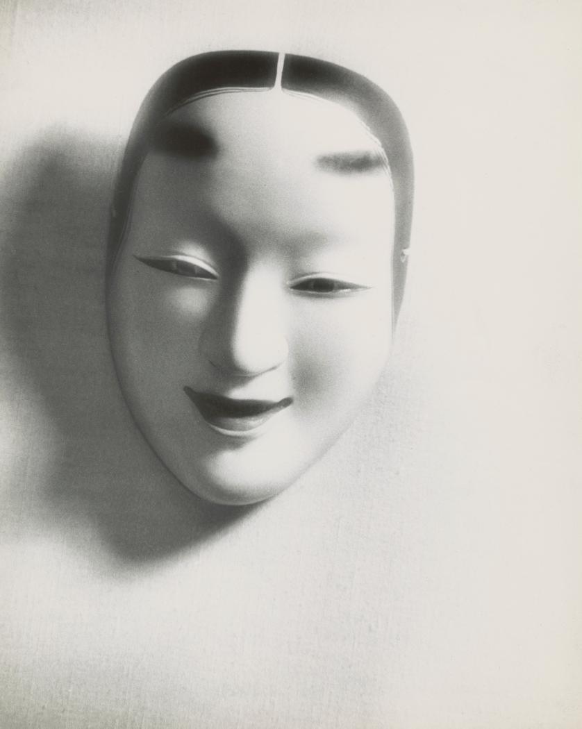 Josef Breitenbach-Japanese female mask, fabric background], ca. 1940s