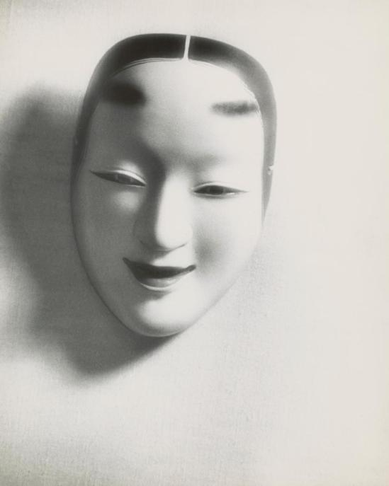 Josef Breitenbach-Japanese female mask, fabric background], ca. 1940s